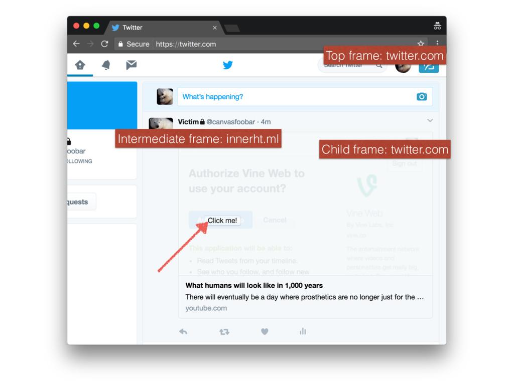 Top frame: twitter.com Intermediate frame: inne...
