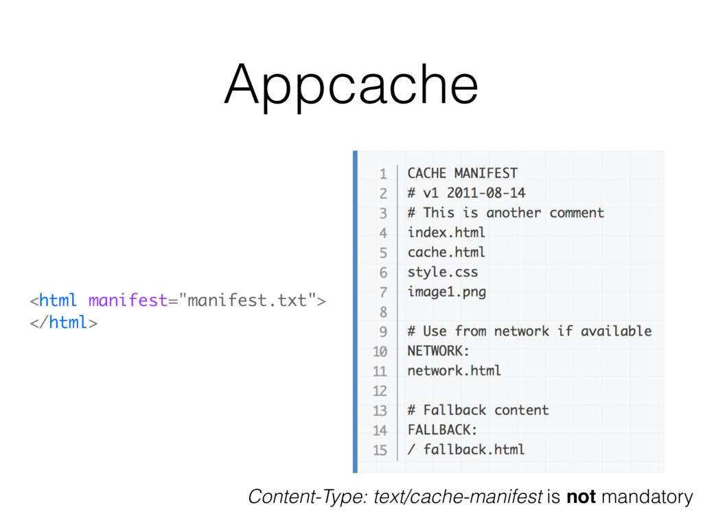 "Appcache <html manifest=""manifest.txt""> </html>..."