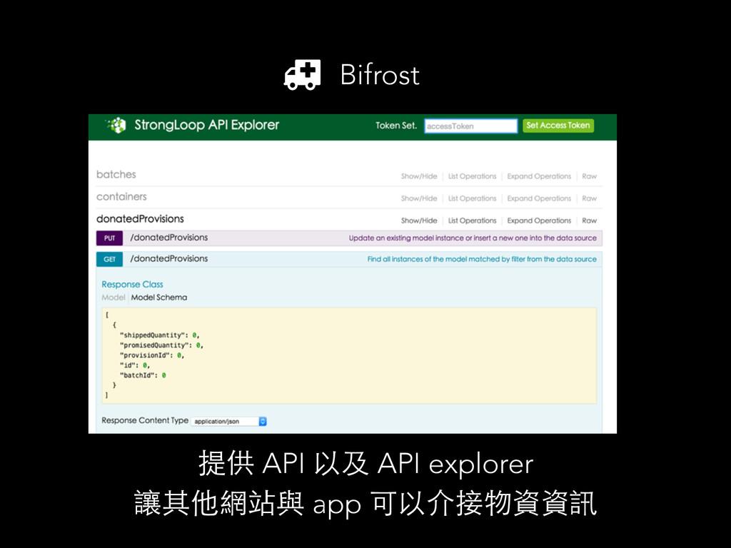 Bifrost 提供 API 以及 API explorer 讓其他網站與 app 可以介接物...
