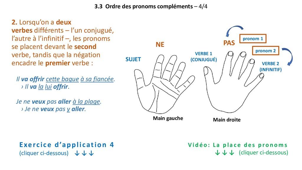 3.3 Ordre des pronoms compléments – 4/4 2. Lors...