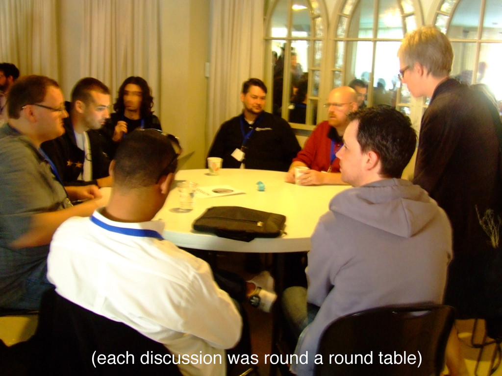 (each discussion was round a round table)