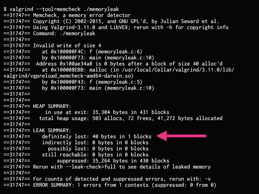 $ valgrind --tool=memcheck ./memoryleak ==31747...