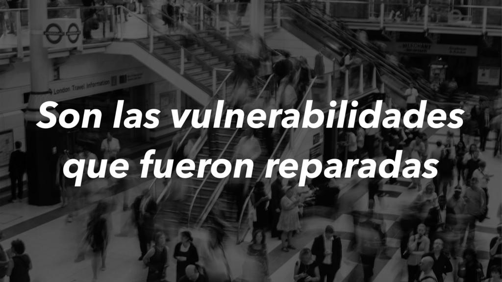Son las vulnerabilidades que fueron reparadas
