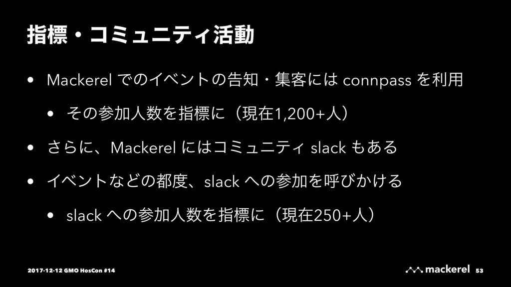 ࢦඪɾίϛϡχςΟ׆ಈ • Mackerel ͰͷΠϕϯτͷࠂɾू٬ʹ connpass ...
