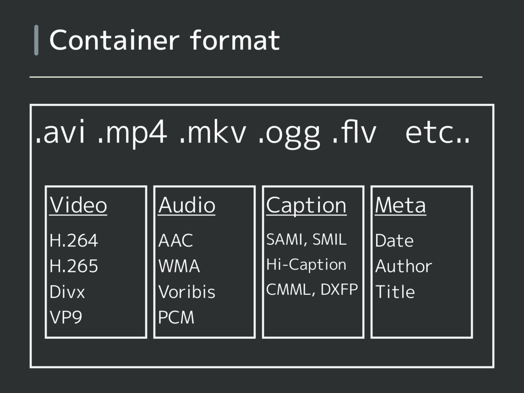 .avi .mp4 .mkv .ogg .flv etc.. Container format ...