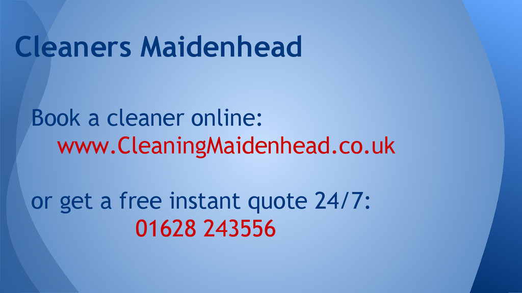 Book a cleaner online: www.CleaningMaidenhead.c...