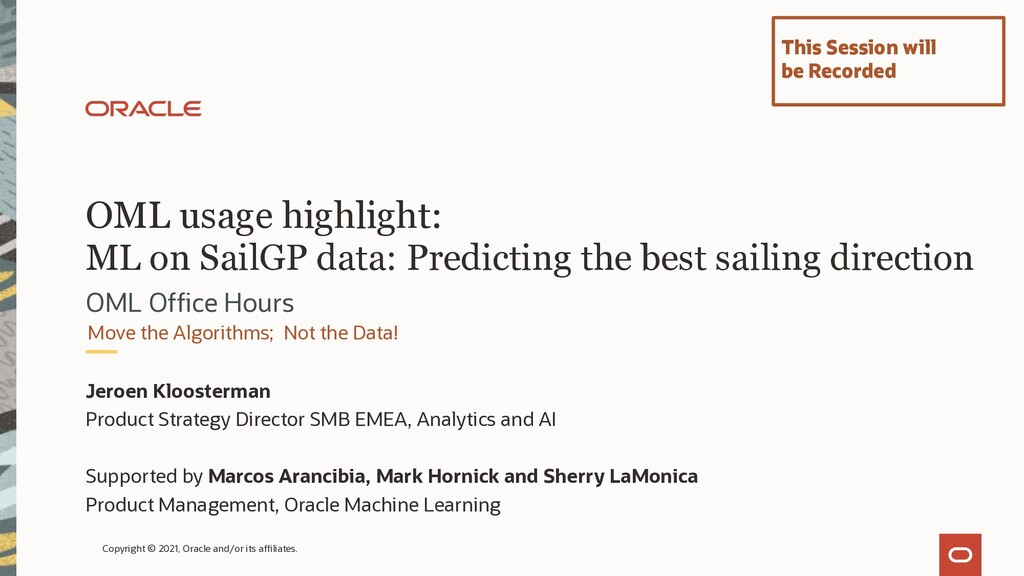 OML usage highlight: ML on SailGP data: Predict...
