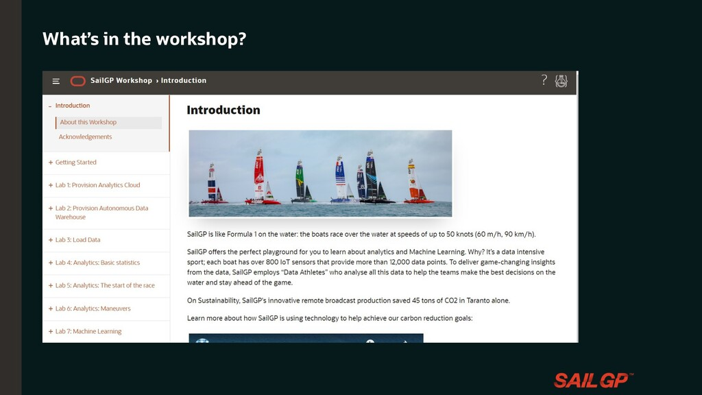 What is SailGP? What's in the workshop?