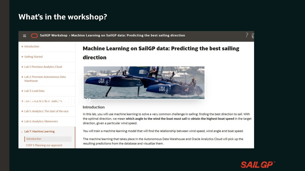 What's in the workshop? What is SailGP?