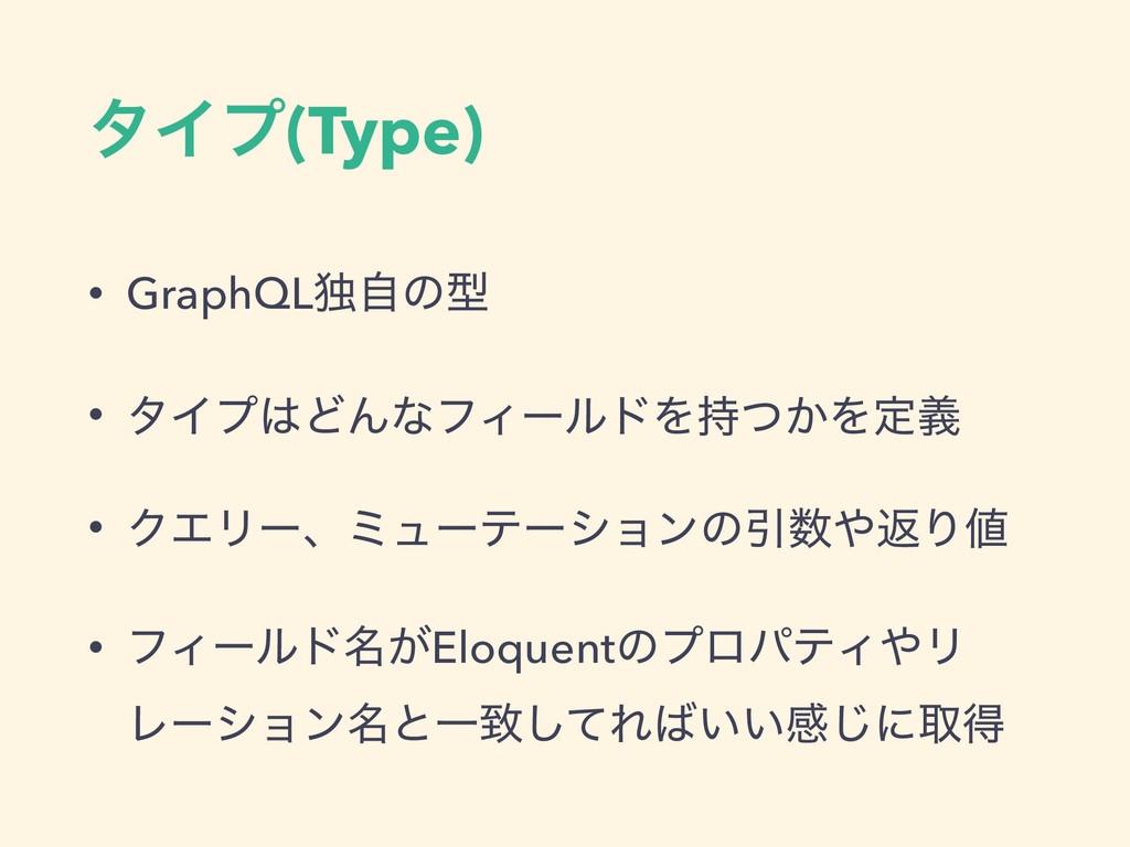 λΠϓ(Type) • GraphQLಠࣗͷܕ • λΠϓͲΜͳϑΟʔϧυΛ͔ͭΛఆٛ •...