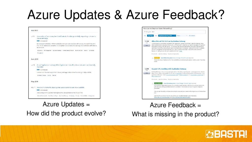 Azure Updates & Azure Feedback? Azure Updates =...