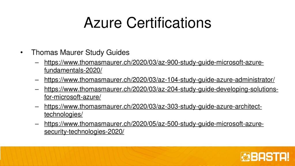 Azure Certifications • Thomas Maurer Study Guid...