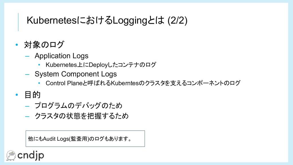 KubernetesにおけるLoggingとは (2/2) • 対象のログ – Applica...