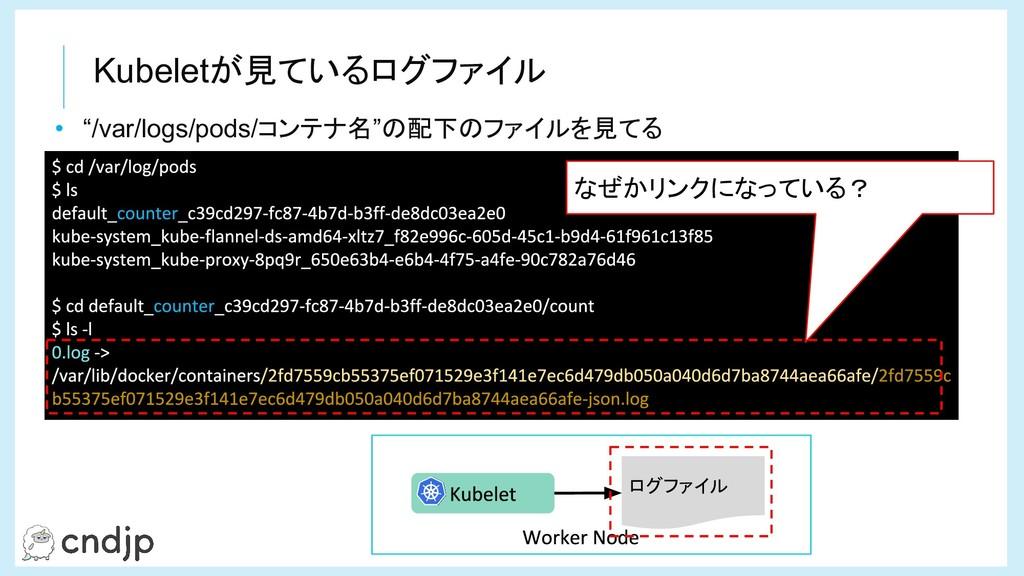 """Kubeletが見ているログファイル • """"/var/logs/pods/コンテナ名""""の配下の..."""