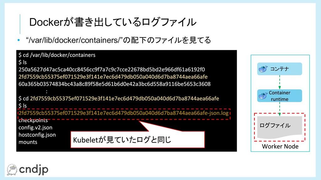 "Dockerが書き出しているログファイル • ""/var/lib/docker/contain..."
