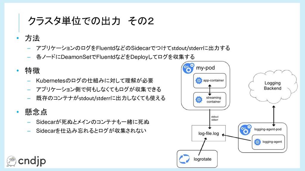 クラスタ単位での出力 その2 • 方法 – アプリケーションのログをFluentdなどのSid...