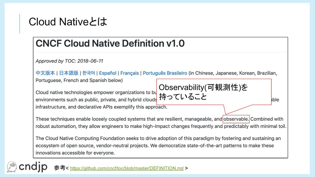 Cloud Nativeとは Observability(可観測性)を 持っていること 参考 ...