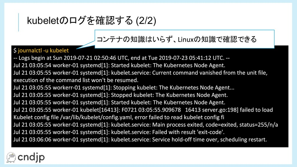 kubeletのログを確認する (2/2) コンテナの知識はいらず、 の知識で確認できる