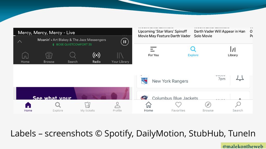 @malekontheweb Labels – screenshots © Spotify, ...