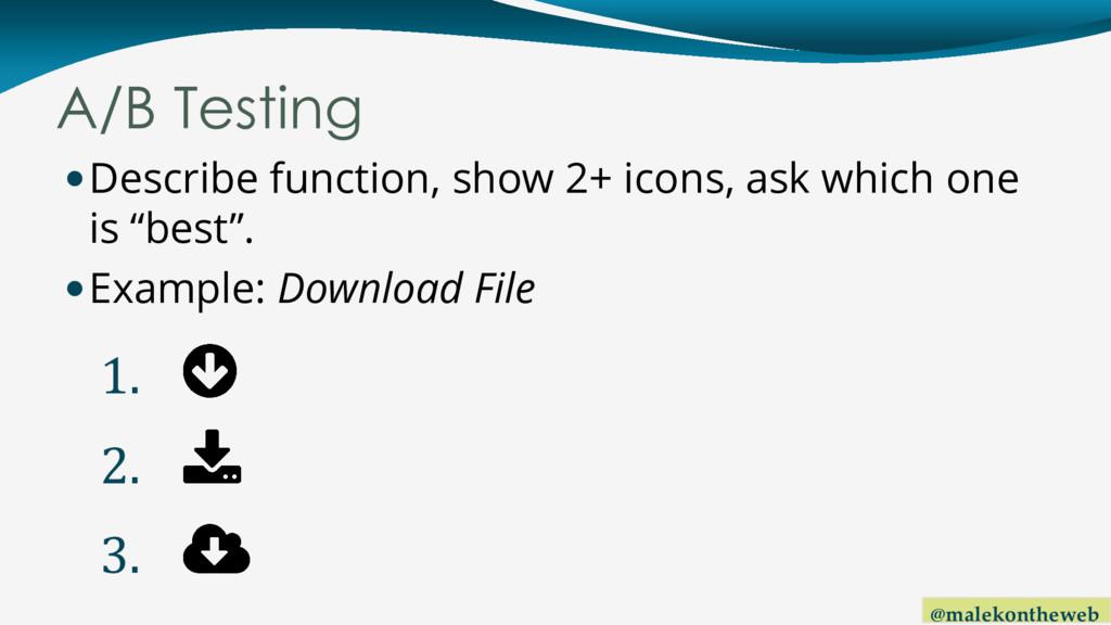 @malekontheweb A/B Testing Describe function, ...