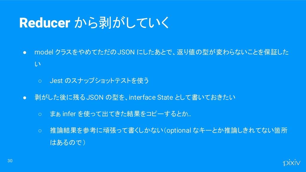 30 Reducer から剥がしていく ● model クラスをやめてただの JSON にした...