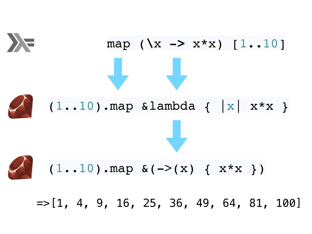 map (\x -> x*x) [1..10] (1..10).map &lambda { |...