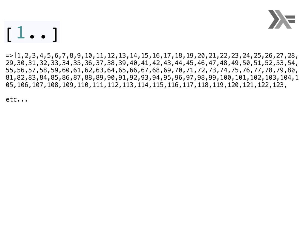 [1..] =>[1,2,3,4,5,6,7,8,9,10,11,12,13,14,15,16...