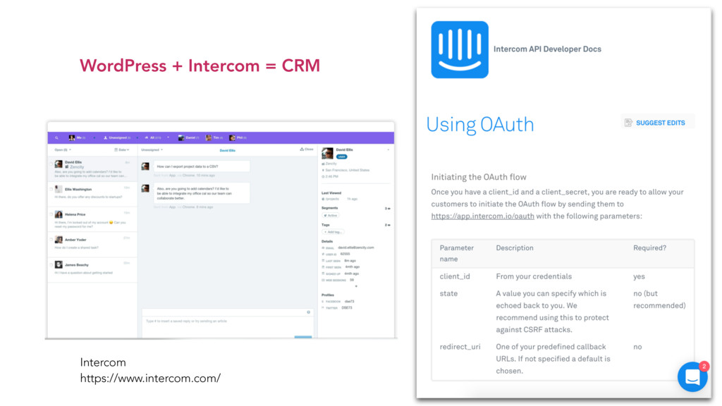 WordPress + Intercom = CRM Intercom https://ww...