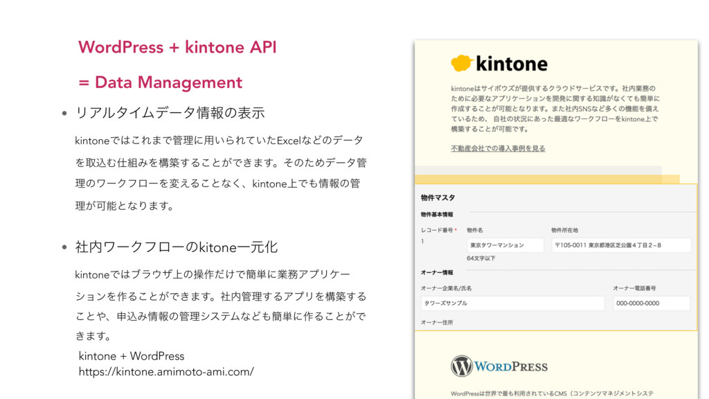 WordPress + kintone API  = Data Management kin...
