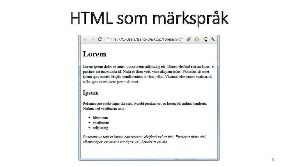 HTML som märkspråk 11