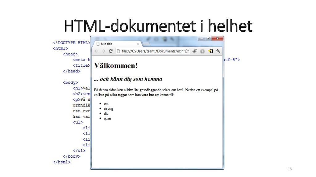 HTML-dokumentet i helhet 16