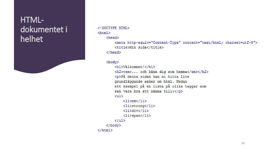 HTML- dokumentet i helhet 24