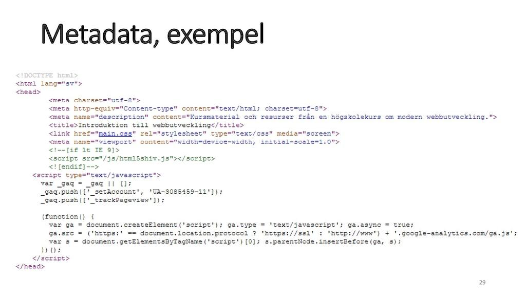 Metadata, exempel 29