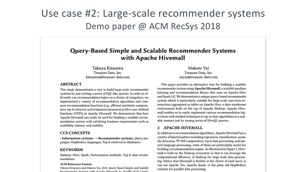 Use case #2: Large-scale recommender systems