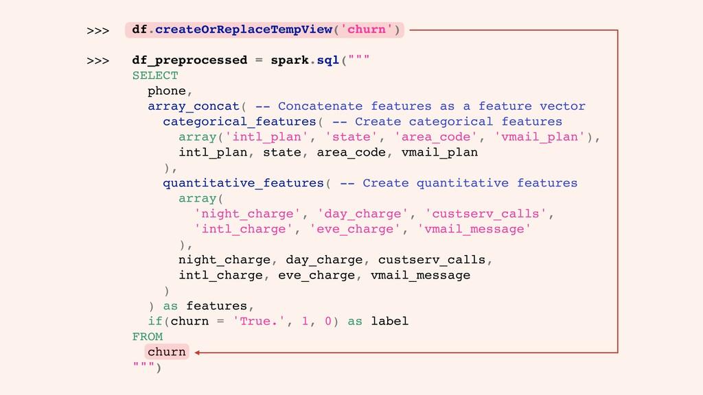df.createOrReplaceTempView('churn') df_preproce...