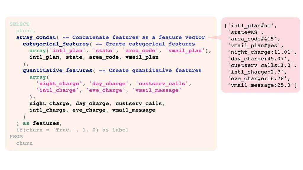 SELECT phone, array_concat( -- Concatenate feat...