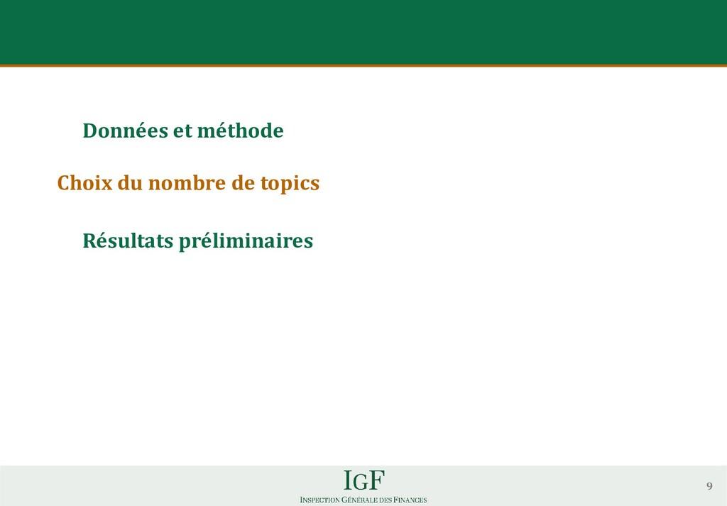Données et méthode Choix du nombre de topics Ré...