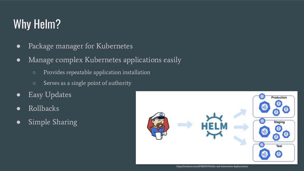 Why Helm? ● Package manager for Kubernetes ● Ma...