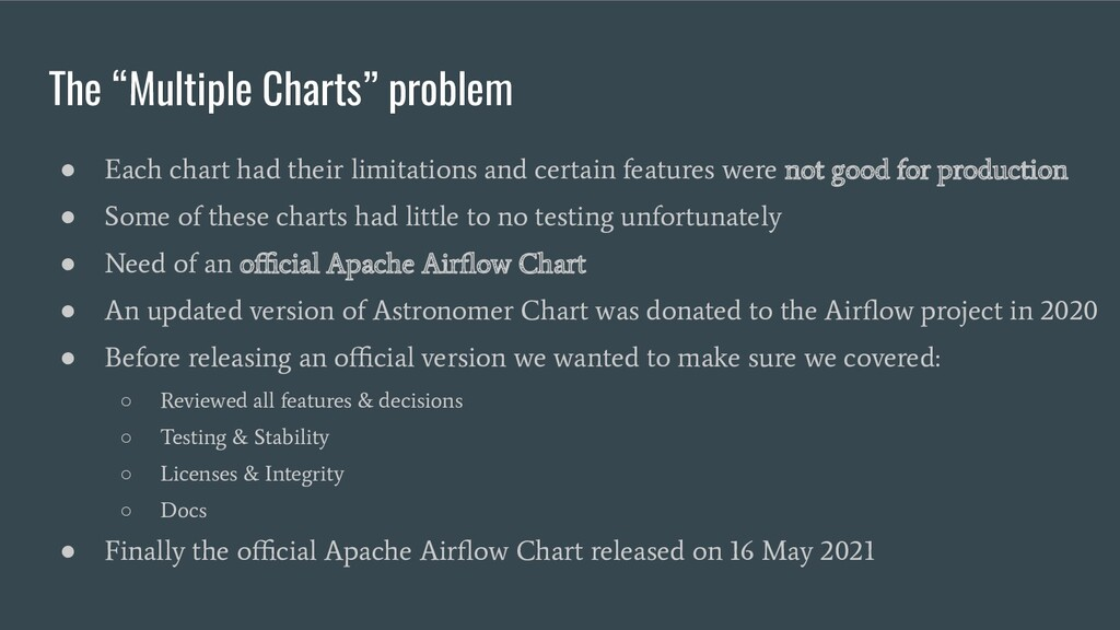 """The """"Multiple Charts"""" problem ● Each chart had ..."""
