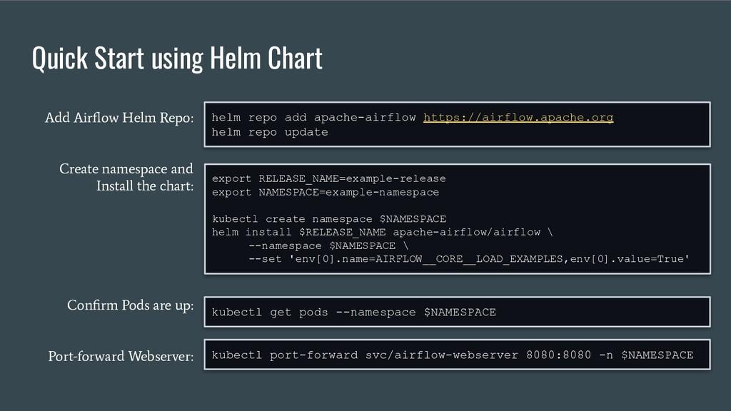 Quick Start using Helm Chart export RELEASE_NAM...