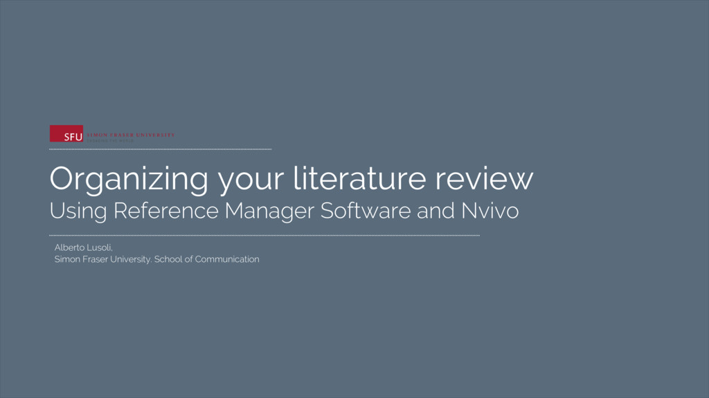 Organizing your literature review Using Referen...