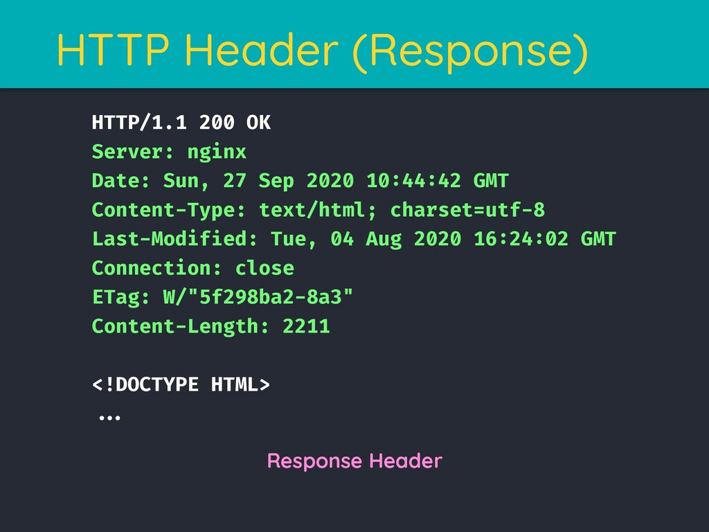 HTTP Header (Response) HTTP/1.1 200 OK Server: ...