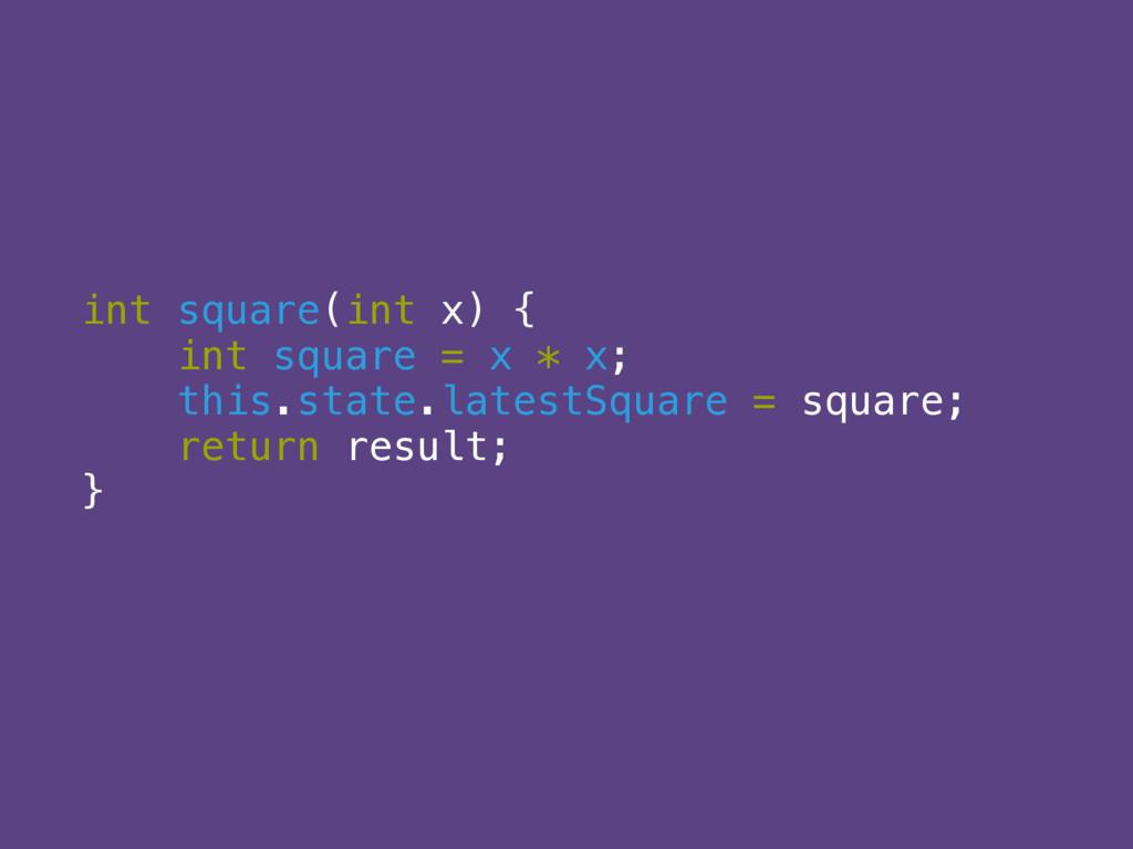 int square(int x) {  int square = x * x;  thi...