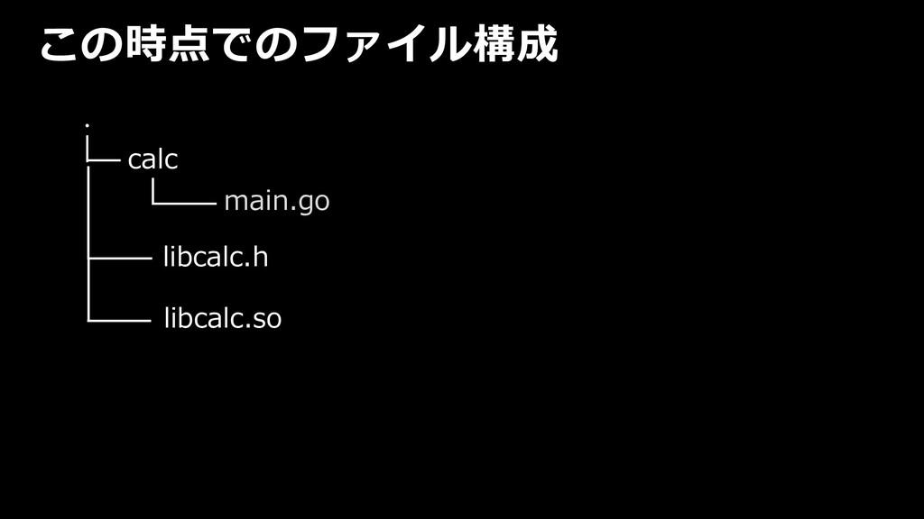 この時点でのファイル構成 ・ calc main.go libcalc.h libcalc.so