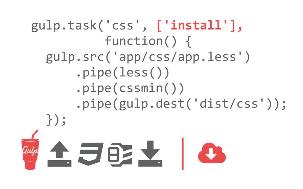 gulp.task('css', ['install'],    ...