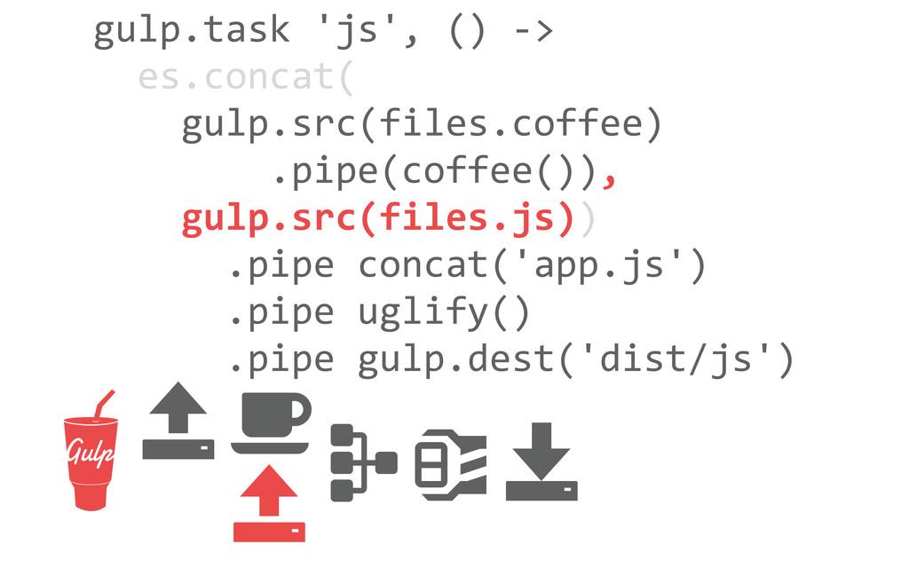 gulp.task 'js', () -‐>   es.con...