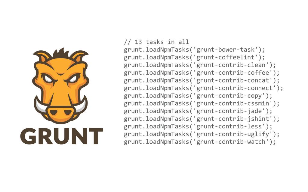 // 13 tasks in all grunt.loadNpmTas...
