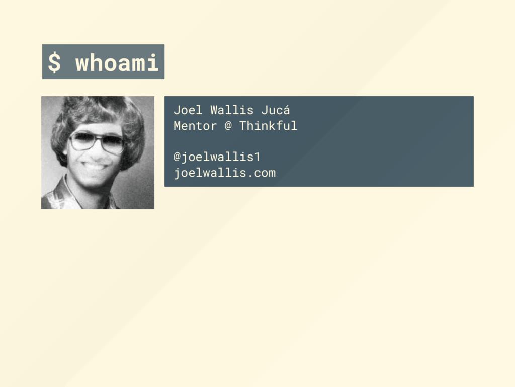 $ whoami Joel Wallis Jucá Mentor @ Thinkful @jo...