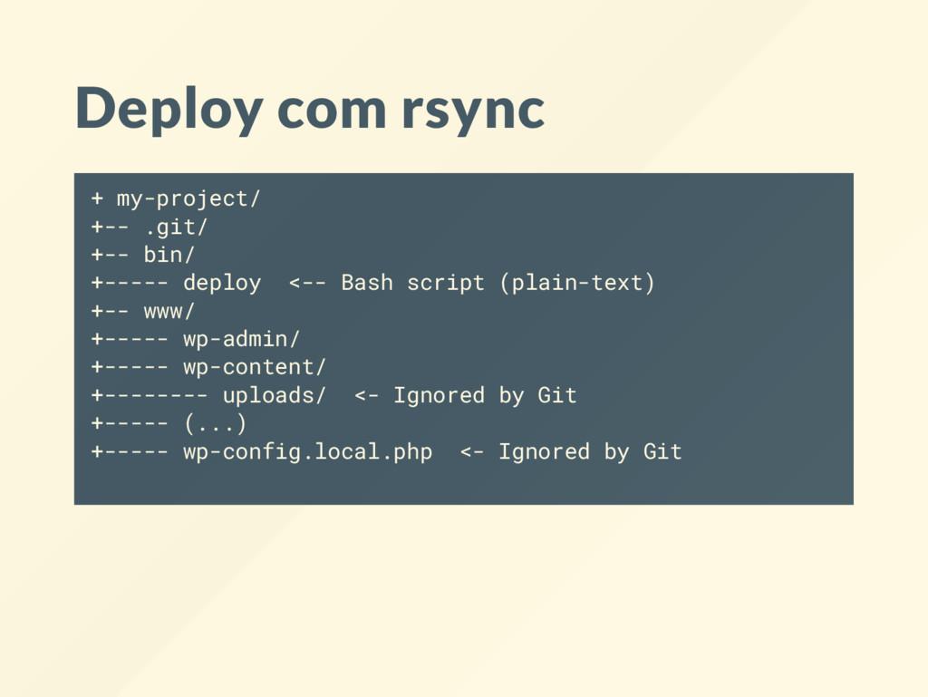Deploy com rsync + my-project/ +-- .git/ +-- bi...